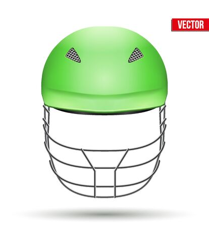 cricket helmet: Green Classic Cricket Helmet Front View. Sport symbol and equipment. Vector Illustration isolated on white background.