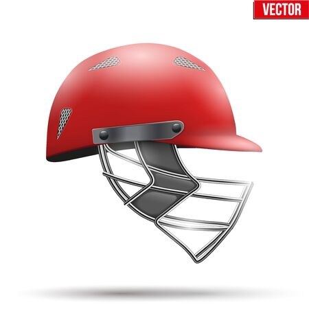 cricket helmet: Red Classic Cricket Helmet Side View. Sport symbol and equipment. Vector Illustration isolated on white background. Illustration