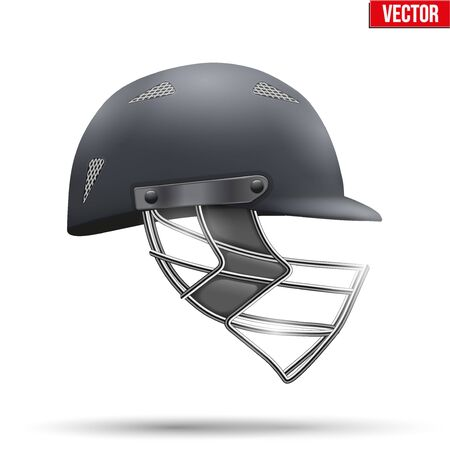 cricket helmet: Black Classic Cricket Helmet Side View. Sport symbol and equipment. Vector Illustration isolated on white background.