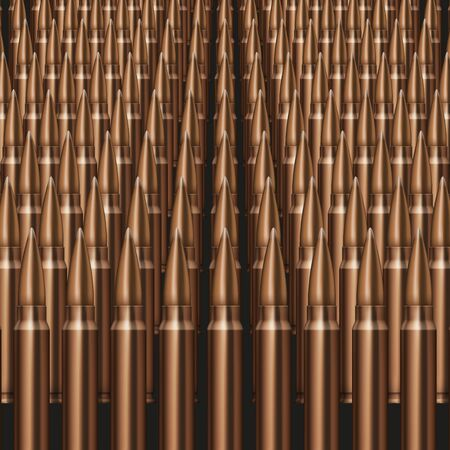bullets: Rifle Bullets background Neat rows of cartridges Stock Photo