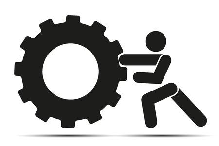 人がトレーニング crossfit トレーニングの白い背景で隔離の単純なシンボルにタイヤ ホイールをプッシュします。