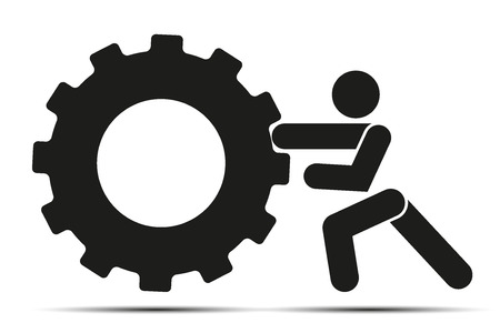 pushes: People pushes tire wheel on training Simple symbol of crossfit workout isolated on a white background