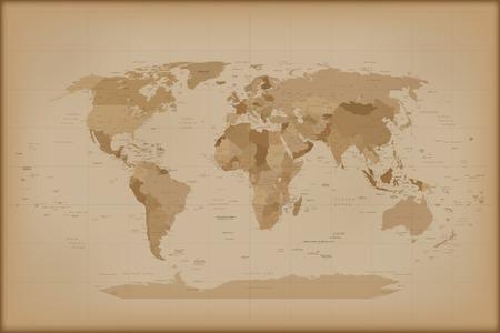mapa mundi: Mapa del mundo de la vendimia. Ilustraci�n del vector aislado en el fondo blanco. Foto de archivo