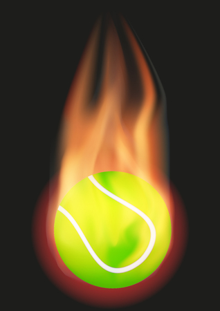 Burning Tennis ball with a tail of flame. Vector illustration Isolated on background.