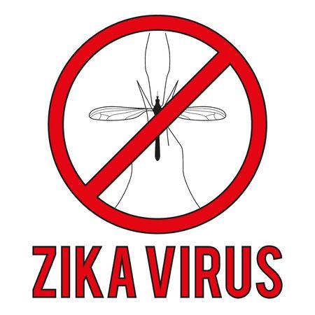 transmitted: Zika virus warning round sign. Vector illustration Isolated on white background. Stock Photo
