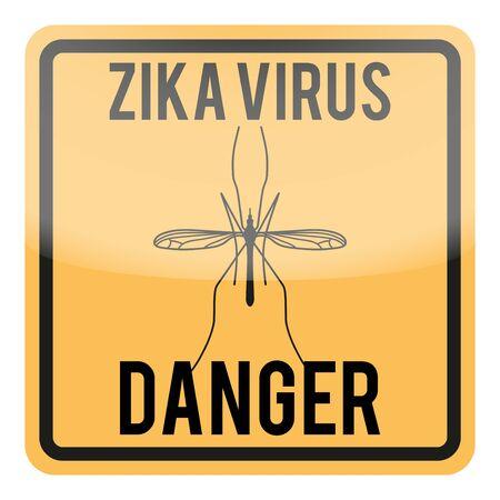 transmitted: Zika virus warning square sign. Vector illustration Isolated on white background.