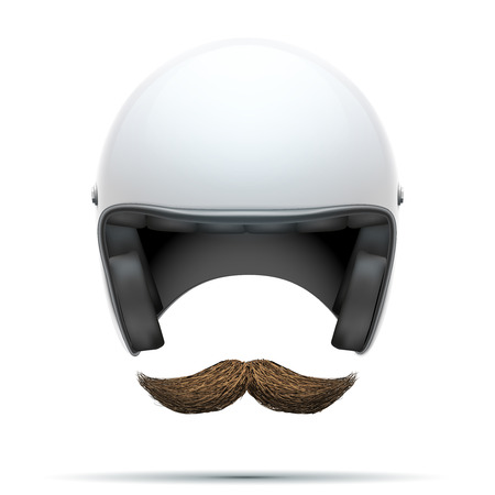 motociclista: Motorcyclist symbol with mustache.  Illustration isolated on white background. Foto de archivo