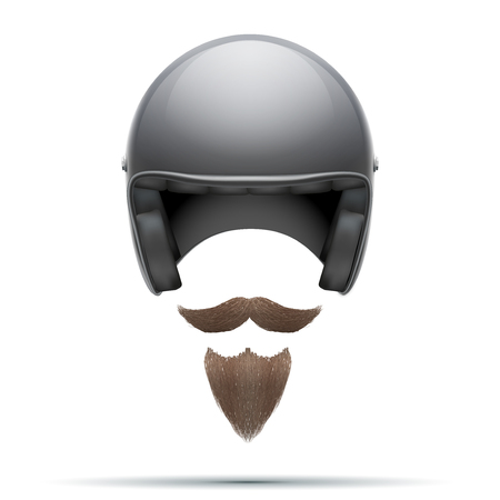 motorcyclist: Motorcyclist symbol with mustache and beard.  Illustration isolated on white background.
