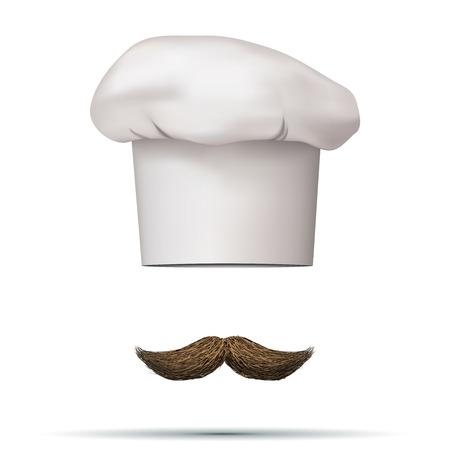 toque: Symbol of chef cap toque and mustache. Haute cuisine.  illustrations.