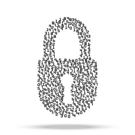 cyber defence: Simple icon of digital lock visually composed of many digits.  Illustration isolated on background.