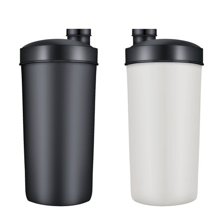 gainer: Mockup Plastic Sport Nutrition Drink Bottle. Whey Protein and Gainer.  Illustration isolated on white background