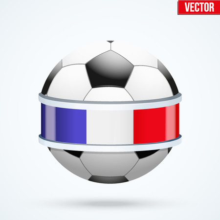 Bright shield in the football ball inside with flag of France ribbon. Editable Vector Illustration isolated on white background.