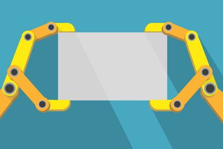 automaton: Robot hands holding blank sign with space for text. Flat Design.  Illustration isolated on background. Stock Photo