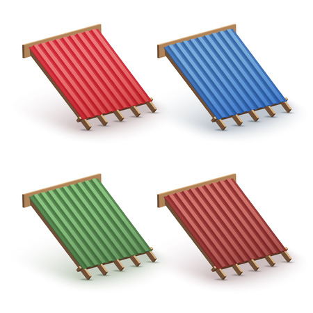 Set of Icons demonstration red metal roofing cover on the roof.   Illustration isolated on white background. Stock Photo
