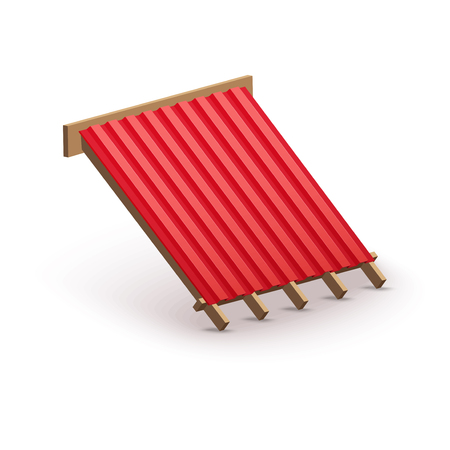 housetop: Icon demonstration red metal roofing cover on the roof.   Illustration isolated on white background.