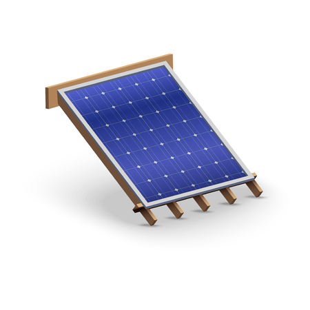 shingles: Icon demonstration solar panel cover on the roof.   Illustration isolated on white background.