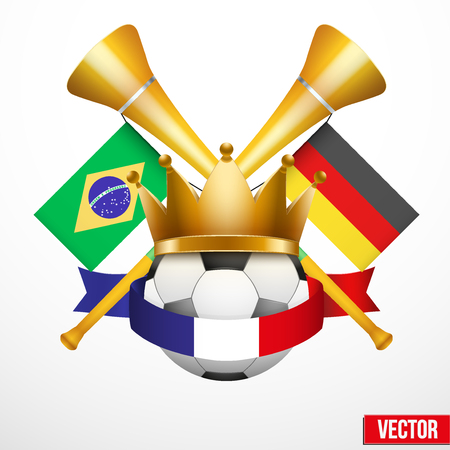 vuvuzela: Sport Poster with Football Ball, France flag ribbon and golden vuvuzela.