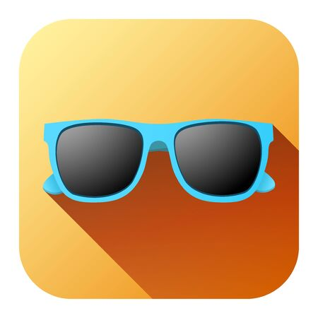 sunglasses recreation: Square Summer Icon with sunglasses. Vector Illustration isolated on white background.