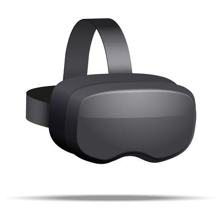 Origineel stereoscopisch 3d vr-masker met hoofdtelefoon. Perspectief. illustratie geïsoleerd op een witte achtergrond. Stockfoto