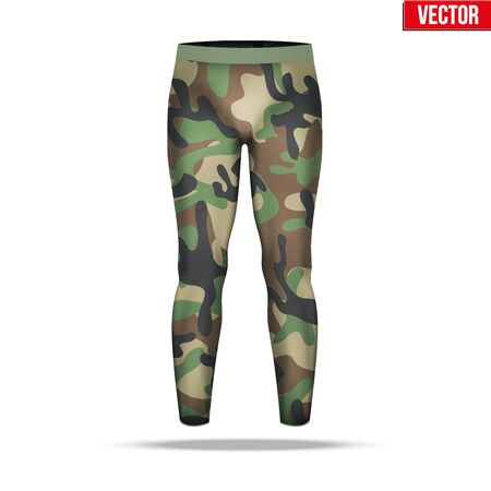 absorption: Base layer underwear compression pants of thermal fabric in woodland camouflage style. Illustration