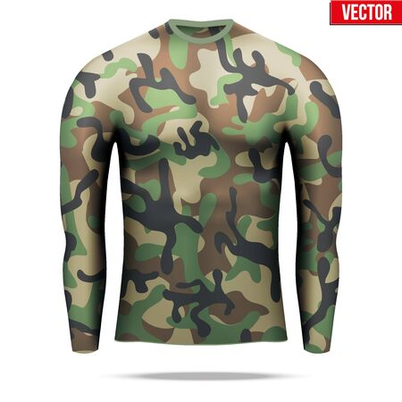 compression: Base layer underwear compression shirt with long sleeve of thermal fabric in woodland camouflage style.