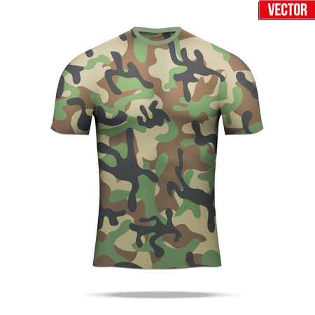 compression: Base layer underwear compression t-shirt of thermal fabric  in woodland camouflage style.