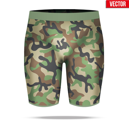 compression: Base layer underwear compression shorts of thermal fabric in woodland camouflage style. Sample typical technical illustration.  Vector Illustration isolated on white background