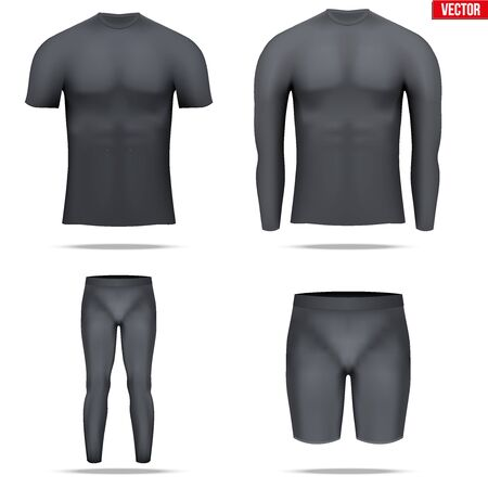 wetness: Set of Black Base layer compression shirt with long and short sleeve.