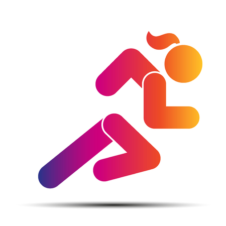 hot woman: Running woman. Hot speed design. Simple symbol of run isolated on a white background. Vector Illustration.