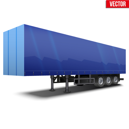 semi trailer: Blank parked blue semi trailer with canvas cover. Perspective side view. Vector Illustration Isolated on white background