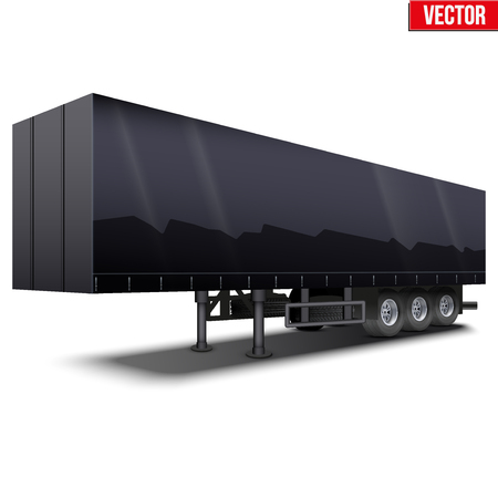semi trailer: Blank parked black semi trailer with canvas cover. Perspective side view. Vector Illustration Isolated on white background