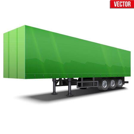 semi trailer: Blank parked green semi trailer with canvas cover. Perspective side view. Vector Illustration Isolated on white background Illustration