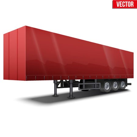 semitrailer: Blank parked red semi trailer with canvas cover. Perspective side view. Vector Illustration Isolated on white background