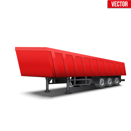 tipper: Blank parked red tipper semi trailer with canvas cover. Perspective side view. Vector Illustration Isolated on white background Illustration