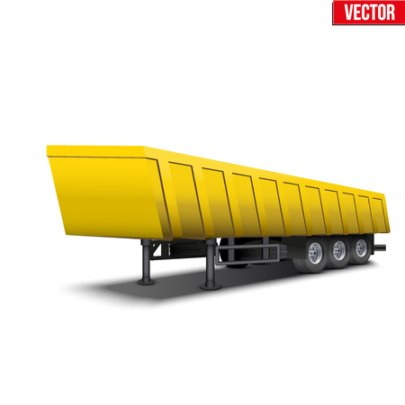 semitrailer: Blank parked yellow tipper semi trailer with canvas cover. Perspective side view. Vector Illustration Isolated on white background