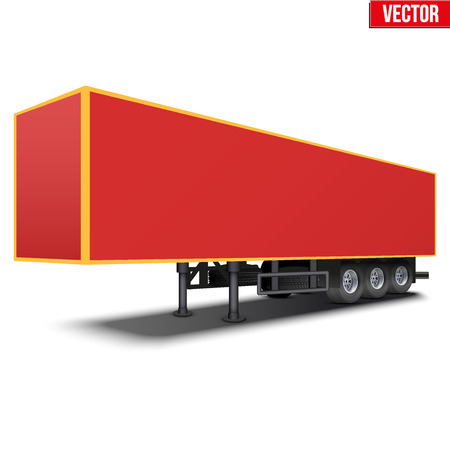 semi trailer: Blank parked van red semi trailer. Perspective side view. Vector Illustration Isolated on white background
