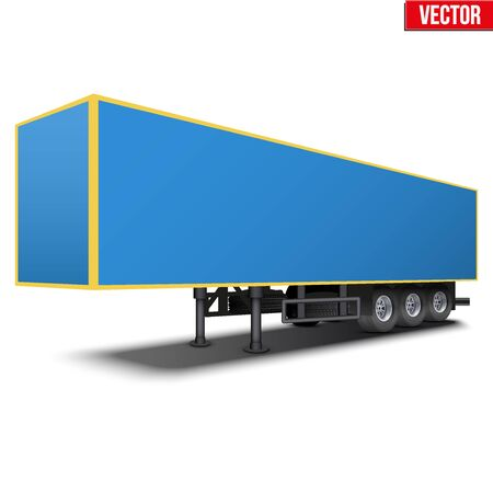 semi trailer: Blank parked van blue semi trailer. Perspective side view. Vector Illustration Isolated on white background