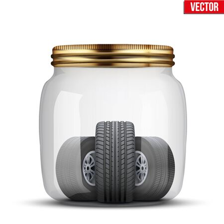 storage facility: Conceptual illustration of the seasonal storage of tires. Glass jar and wheels in it. Vector Illustration isolated on white background.