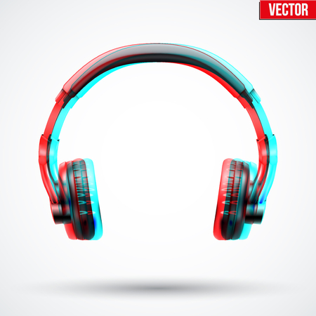 visual: Realistic Headphones with visual Anaglyph stereoscopic effect.