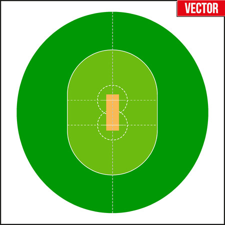 cricket field: Cricket Field. Simple symbol and background. Vector Illustration isolated on a white background.