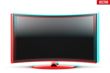 anaglyph: Frontal view of curved widescreen led or lcd tv monitor with visual Anaglyph stereoscopic effect. Vector Illustration isolated on white