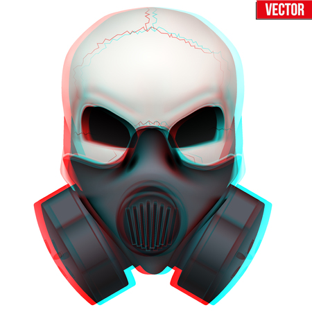toxins: Vector Human skull with visual Anaglyph stereoscopic effect.