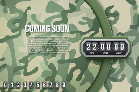 countdown: Creative Military Camouflage Background Coming Soon and countdown timer with digit samples. Vector Illustration.