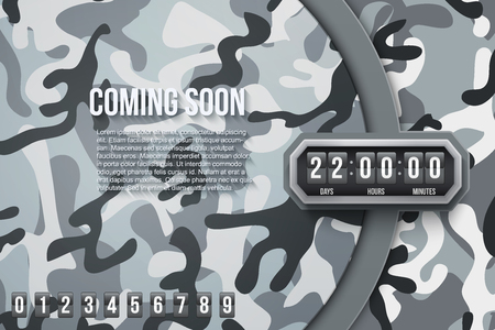countdown: Creative Military City Camouflage Background Coming Soon and countdown timer with digit samples. Vector Illustration.