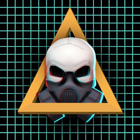 hardcore: Poster of Human skull with visual Anaglyph stereoscopic effect. Vector Illustration Isolated on White Background. Rave or  trance and hardcore music. Illustration