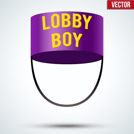 hotel lobby: Lobby boy Hat. Hotel resort service symbol. Vector Illustration isolated on a white background.