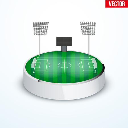 tabletop: Concept of miniature round tabletop football soccer stadium. In three-dimensional space. Vector illustration isolated on background.
