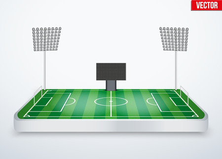 tabletop: Concept of miniature tabletop football soccer stadium. In three-dimensional space. Vector illustration isolated on background.