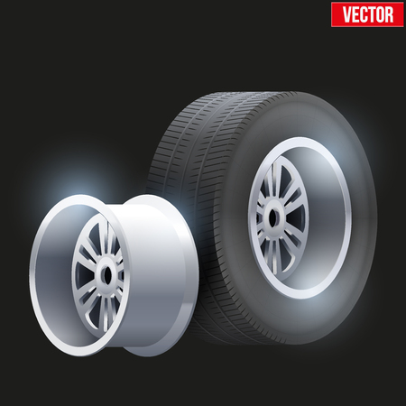traction: Complect Car tires and wheel at warehouse. Vector Illustration isolated on white background Illustration