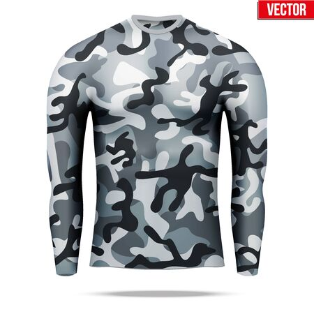 absorption: Base layer underwear compression shirt with long sleeve of thermal fabric in city camouflage style. Sample typical technical illustration.  Vector Illustration isolated on white background